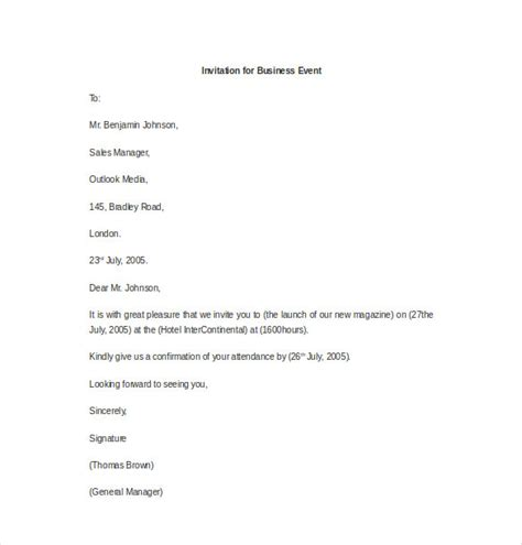 Business Invitation Letter Doc format for invitation letter for an event business event