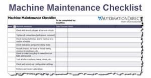 machine maintenance checklist free template