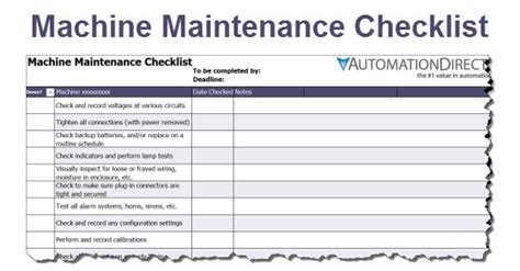 Machine Maintenance Checklist Free Template Service Checklist Template