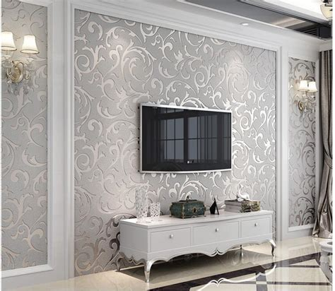 silver grey wallpaper living room 5 3sqm silver wallpaper damask style modern 3d scroll wall