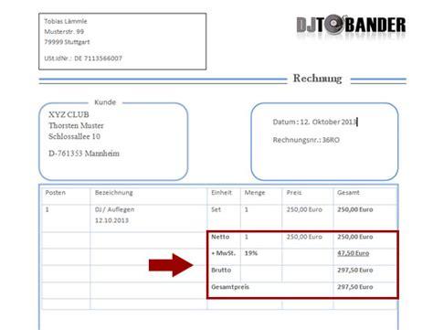 Muster Rechnung Dj Dj Rechnungsvorlage Template Im Ms Word Format