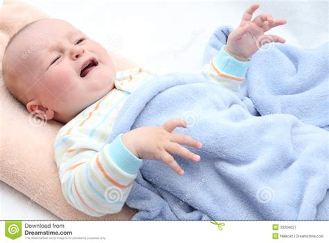 crying in bed little baby crying royalty free stock photography image