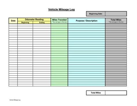 Mileage Log Template For Self Employed 8 Printable Mileage Log Templates For Personal Or Commercial Use