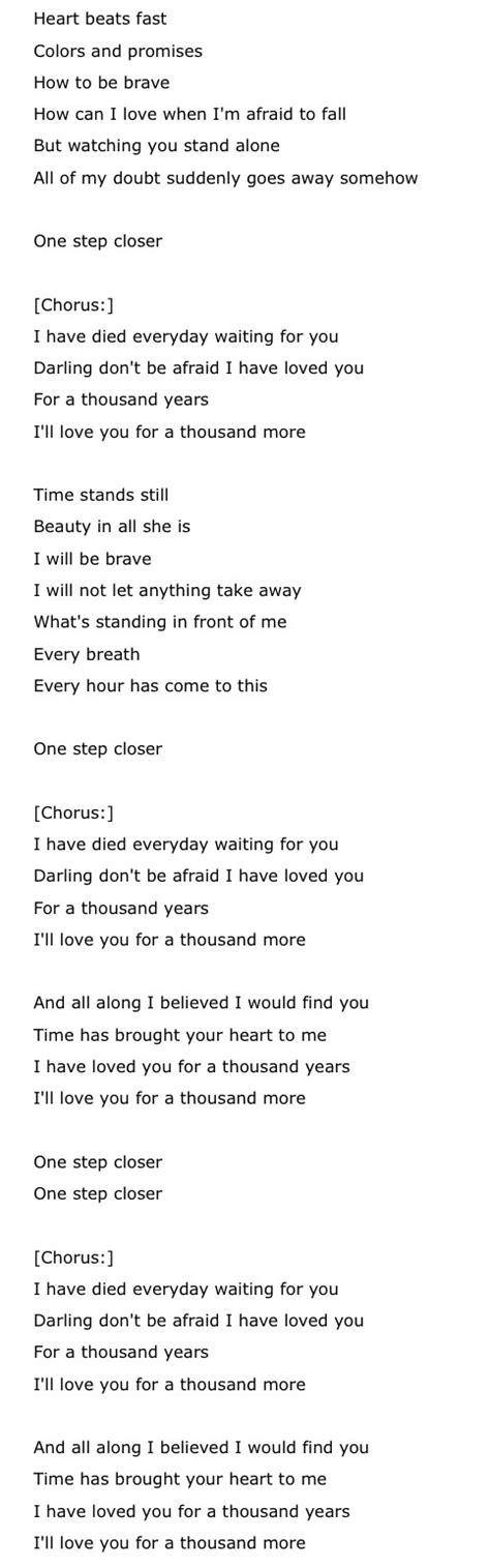 lyrics years a thousand years by perri lyrics about me