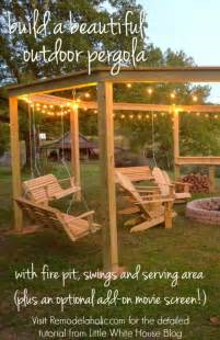 Swings Around Firepit Remodelaholic Tutorial Build An Amazing Diy Pergola And Firepit With Swings