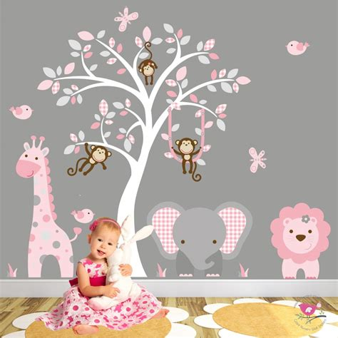 Jungle Animal Nursery Wall Art Stickers Nursery Animal Wall Decals