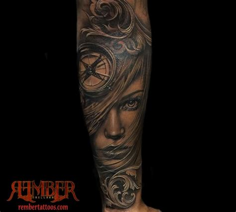 dark age tattoo black and grey realism portrait by rember age