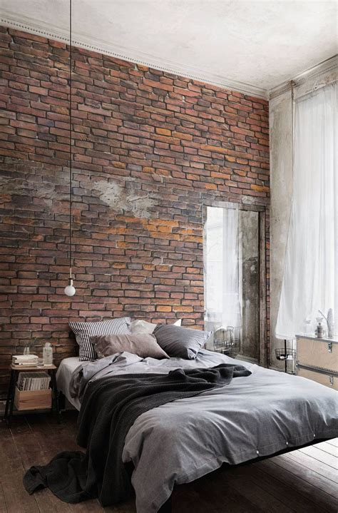 brick wallpaper bedroom urban decayed red wallpaper wall mural muralswallpaper