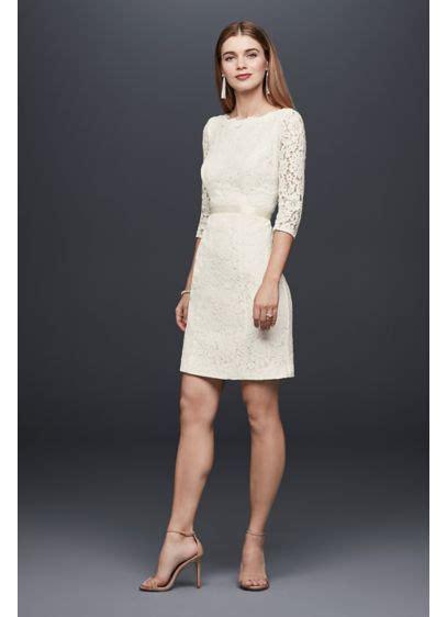 3 4 Sleeve Lace Sheath Dress 3 4 sleeve lace sheath dress with keyhole back david s