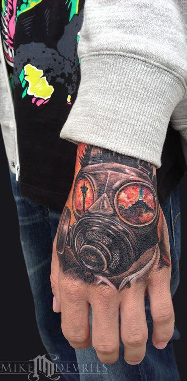 tattoo hand mask mike devries tattoos fantasy warrior gas mask tattoo