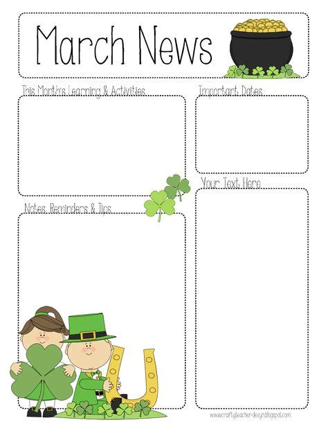 March Newsletter Template classroom newsletter templates on newsletter