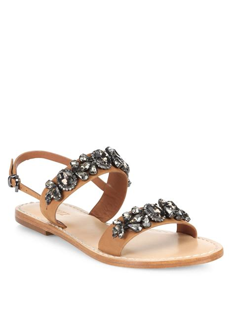 schutz sandals schutz mulada jeweled leather band sandals in brown lyst