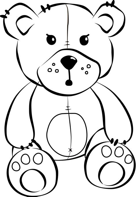 stuffed animals colour sketch template - Pictures Of Animals To Colour In