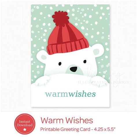 printable christmas cards pdf printable holiday card instant download polar bear