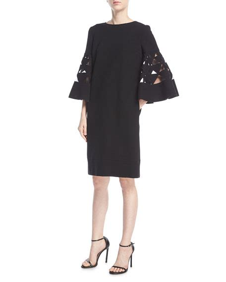 Bell Sleeve Wool Blend Knit Top oscar de la renta bell sleeve shift wool blend cocktail