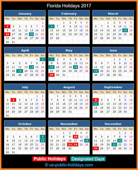 Calendar 2018 Florida Florida Holidays 2017