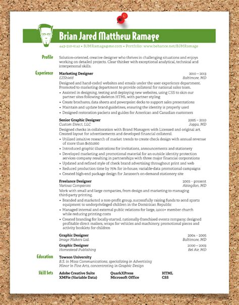 resume sles graphic designer graphic design resume on behance