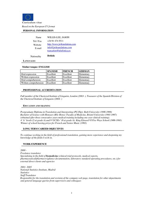 european curriculum vitae format european resume format it resume cover letter sle