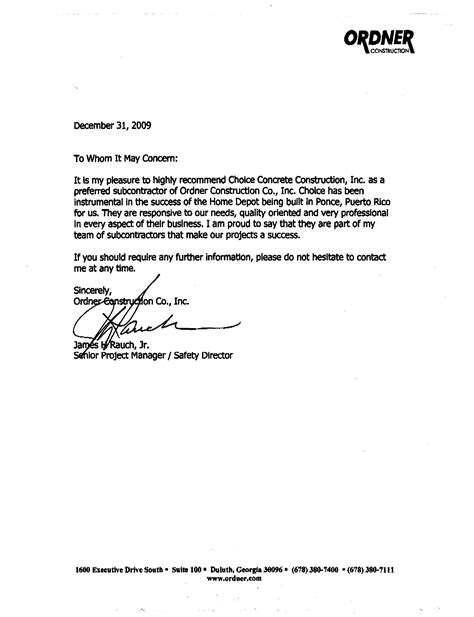 Letter Of Recommendation For Contractor