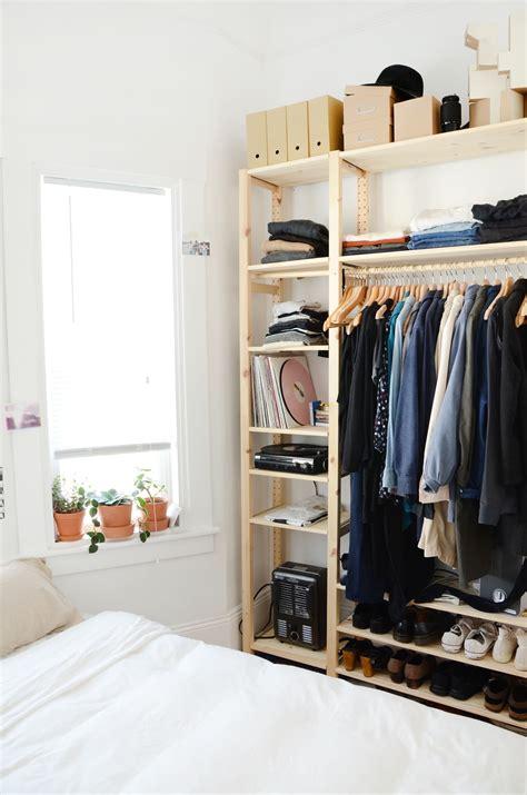 stylish affordable makeshift closet ikea hacks apartment therapy