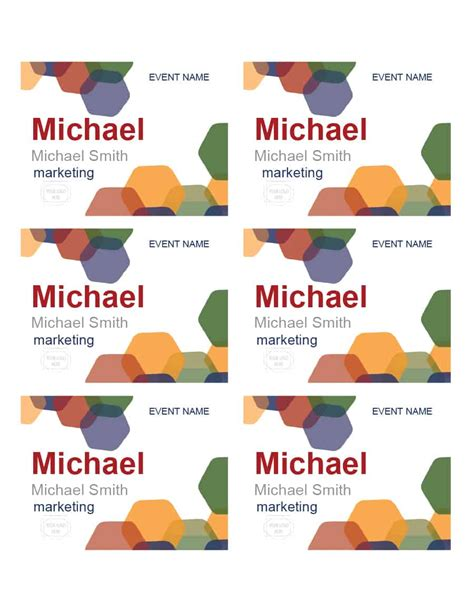 name badge card template excel pdf formats
