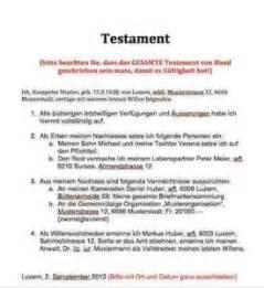 Muster Testament Testament Muster Vorlage Muster Und Vorlagen