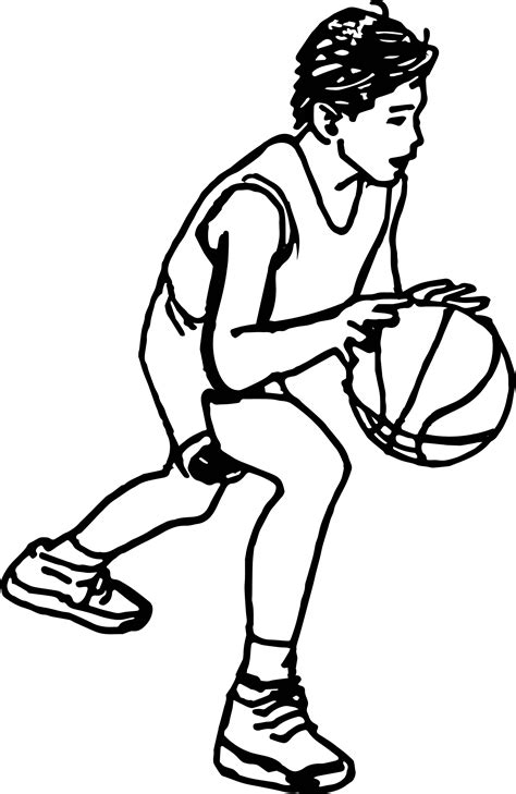 Coloring Page Of Boy Playing Basketball | little boy playing basketball coloring page coloring