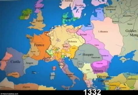 14th Century Middle Ages Europe Map by Europe Countries Were
