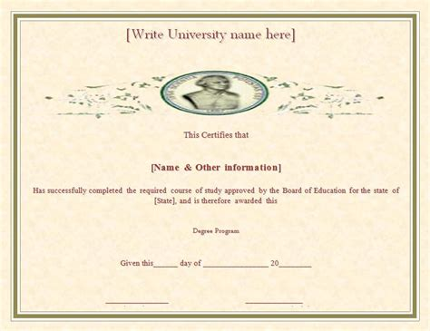 degree certificate template free