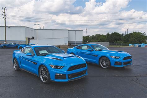 blue mustang roush shows pair of grabber blue mustangs carscoops