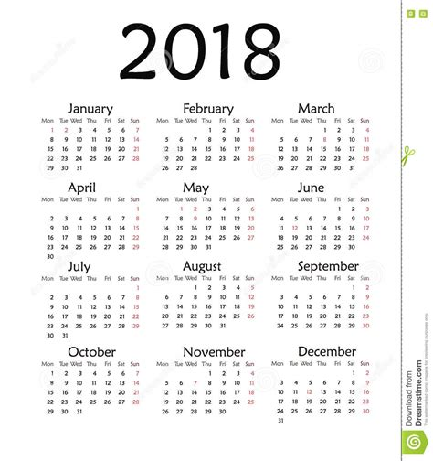 5 Year Calendar 2014 To 2018 Simple Calendar For 2018 Year Stock Illustration Image