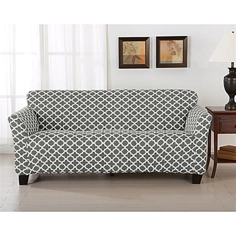one sofa covers great bay home brenna strapless sofa slipcover bed bath