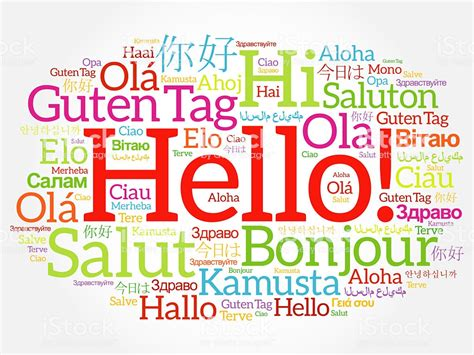 language de hello word cloud collage in different languages stock
