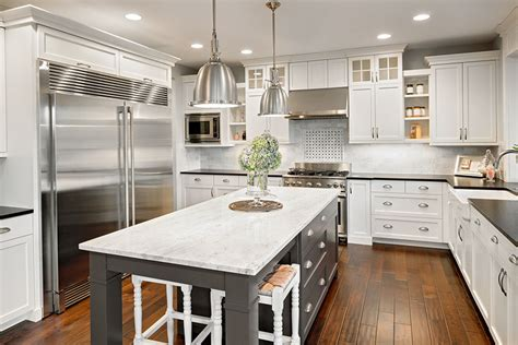 white kitchen with gray island content in a cottage 30 gray and white kitchen ideas designing idea