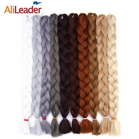 10 packs of kanekalon braiding hair cut alileader kanekalon jumbo braids hair colors black light