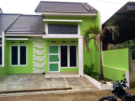 contoh cat luar warna hijau rumah minimalis