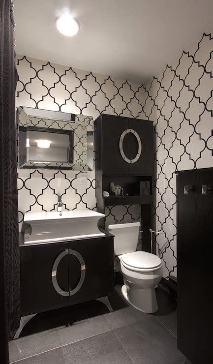 black and silver bathroom wallpaper black and white trellis wallpaper contemporary bathroom vanessa deleon