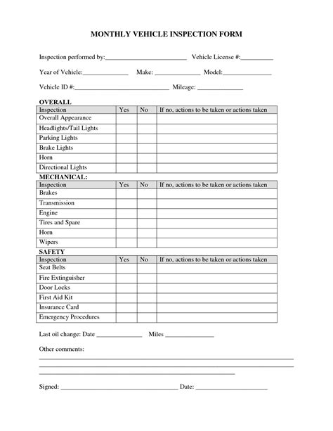 inspection form template image gallery monthly safety inspection checklist