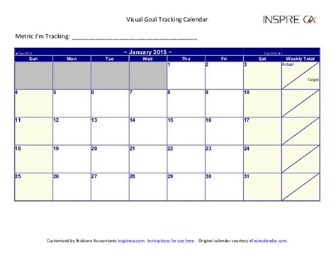 Calendar Goals Goal Calendar 2015 Calendar Template 2016