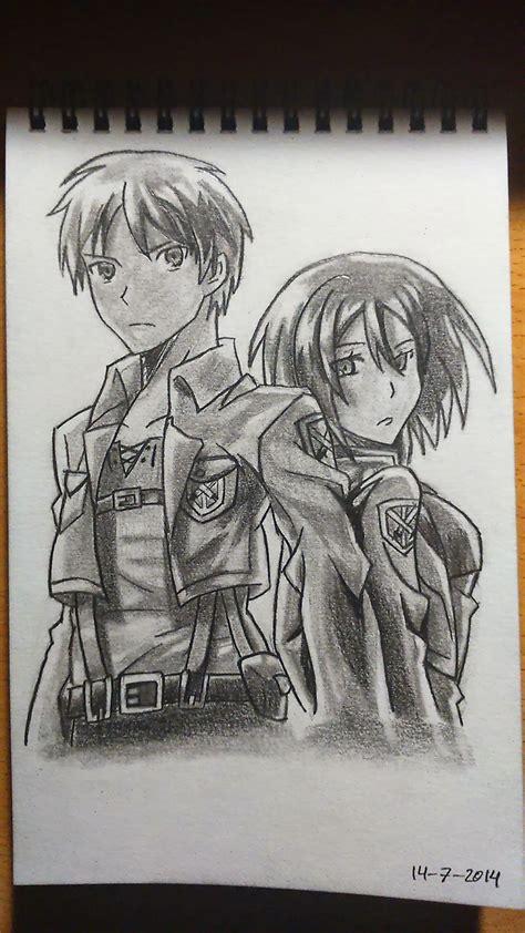 imagenes para dibujar de kirito dibujos gamers y otakus dibujo de eren y mikasa
