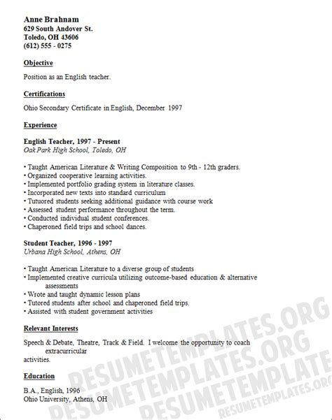 resume for teaching position template high school resume template