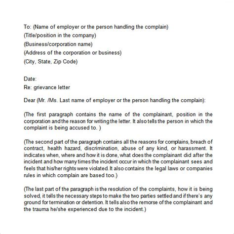 grievance letter template to employer grievance letter 11 documents in pdf word