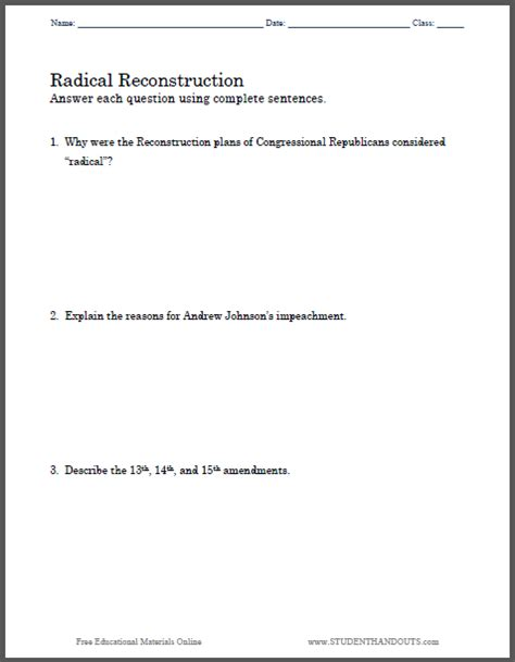 14th Amendment Worksheet by Click Here To Print