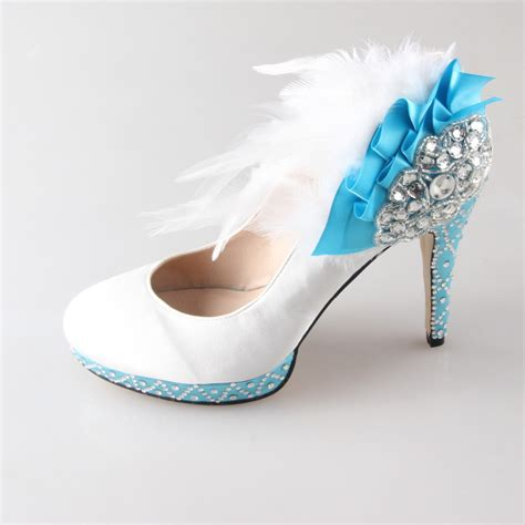 handmade white high heels with light baby blue heel and