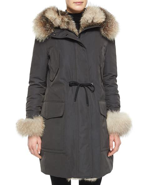 Puffer Coat moncler verteuil fur trim hooded puffer coat in gray lyst