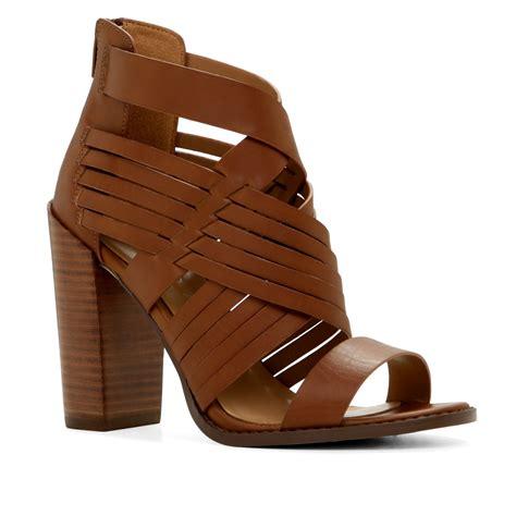 brown heeled sandals aldo gilang woven high heel sandals in brown cognac lyst