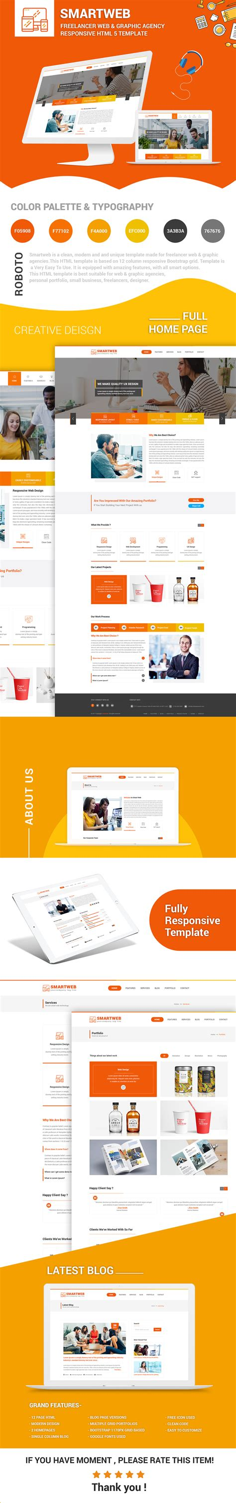 Smartweb Freelancer Web Graphic Agency Html Template By Createuiux Website Template Like Freelancer