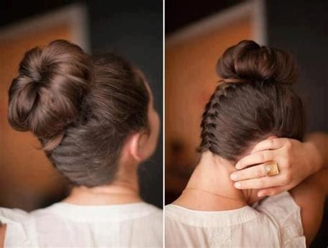 how to have a bun with a plait wrapped around it reverse braid hair bun hair and make up pinterest