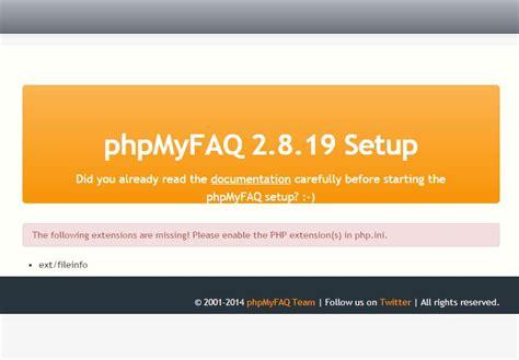 phpmyfaq error extfileinfo missing  xampp installation