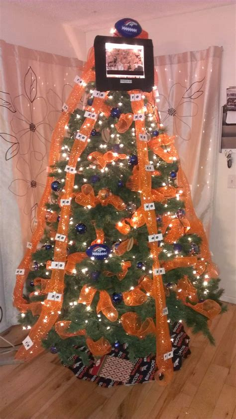 handmade denver bronco christmas tree holiday